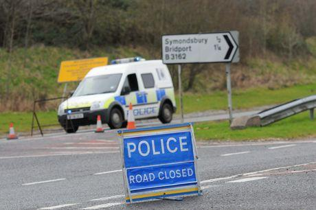 Police close the A35 during the accident investigation