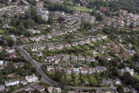 An aerial view of Sidmouth Road in Lyme Regis