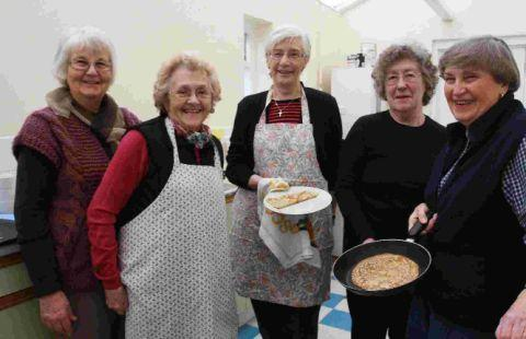 PANCAKE HELPERS: Margaret McConkey, Shirley Wiliams, Betty Wood, Sylvia Marler and Joan Randall
