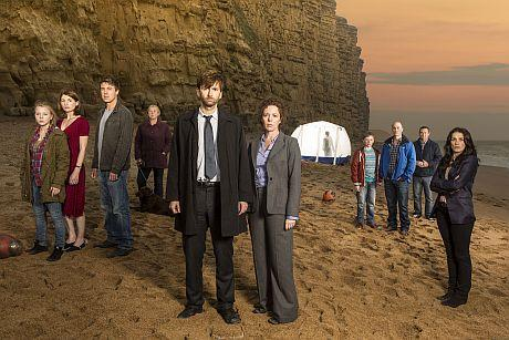 The cast of Broadchurch on the beach at West Bay