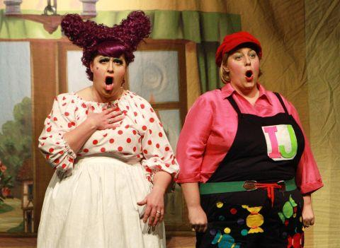 Gemma Hatton as Sarah the Cook and Tanya Rattenbury as Idle Jack