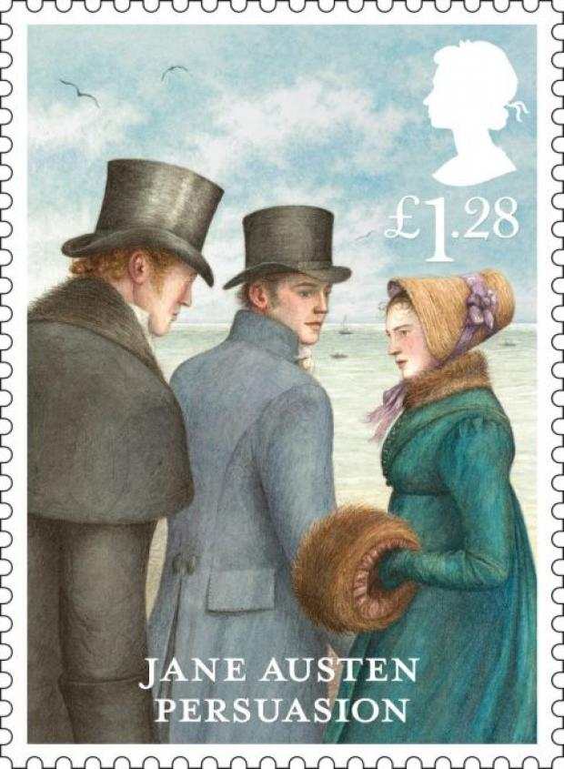Jane Austen Persuasion stamp featuring Lyme Regis