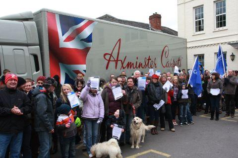 Hundreds gathered outside the Guildhall to rally support for Axminster Carpets