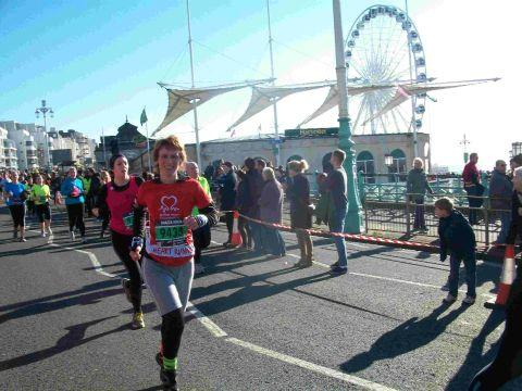DETERMINED: Sharon Ward running the Brighton half marathon