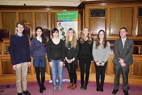 WELL VERSED: Students who competed for a place in the finals. Meg Best is third from the right