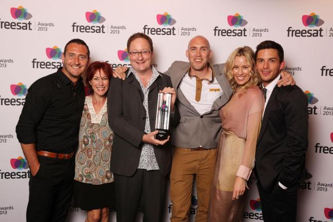 Chris Chibnall with Broadchurch stars at the Freesat Awards