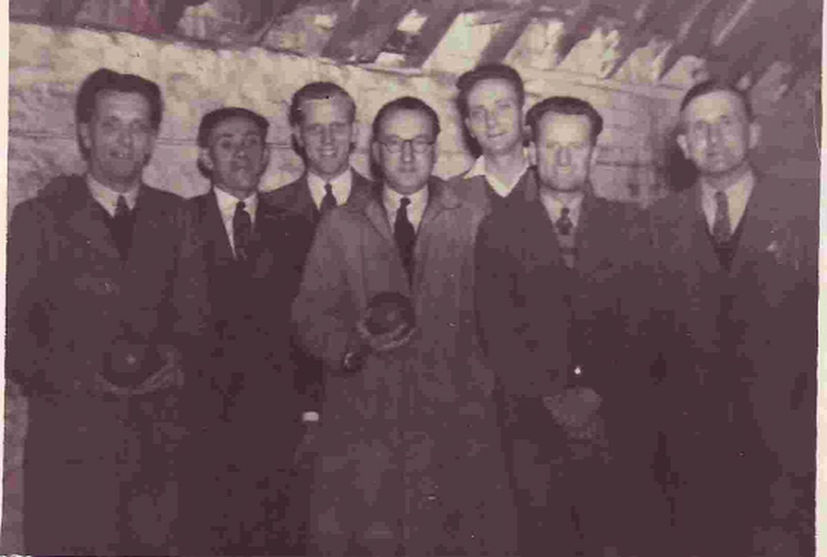 Picture shows the 1949 Gale's Netting St Michael's Lane, skittles team from left ?, Walt Hunt, Ron Hoskins, ? Thom(p)son ?, Albert Chubb ?