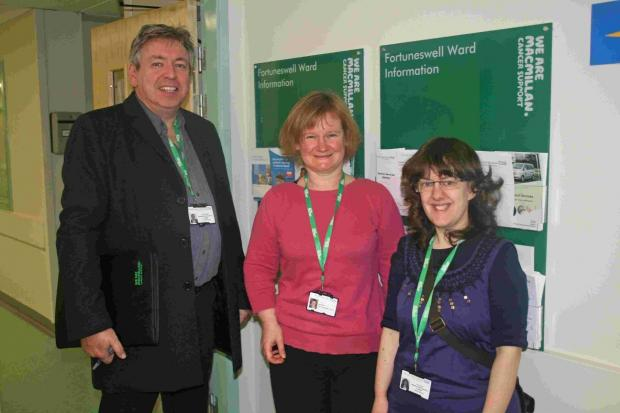 Bridport and Lyme Regis News: MACMILLAN PATIENT EXPERIENCE: Left to right: Connor Kinsella, facilitator; Gill Faley, project leader and Izzy Pochin facilitator