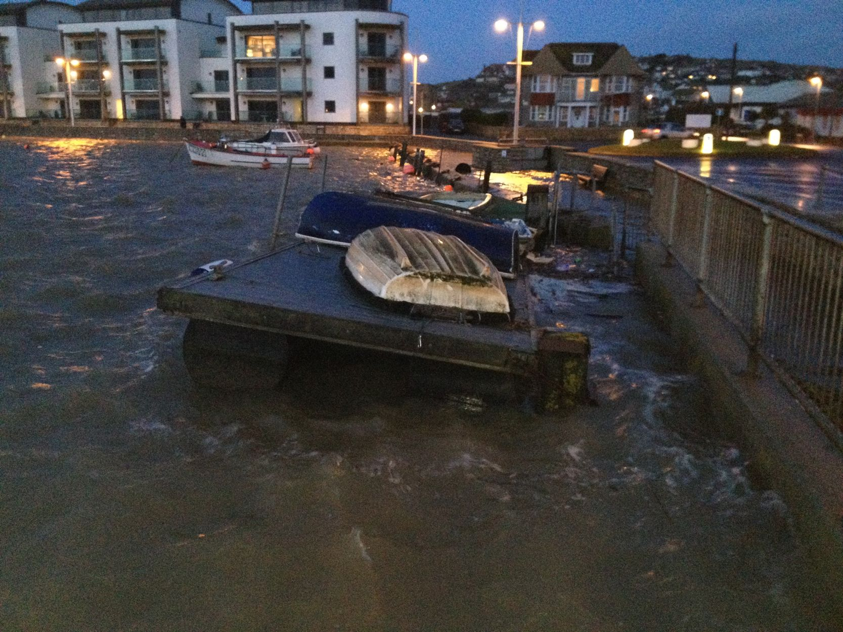 High tide in West Bay this morning. Picture by Simon Miles