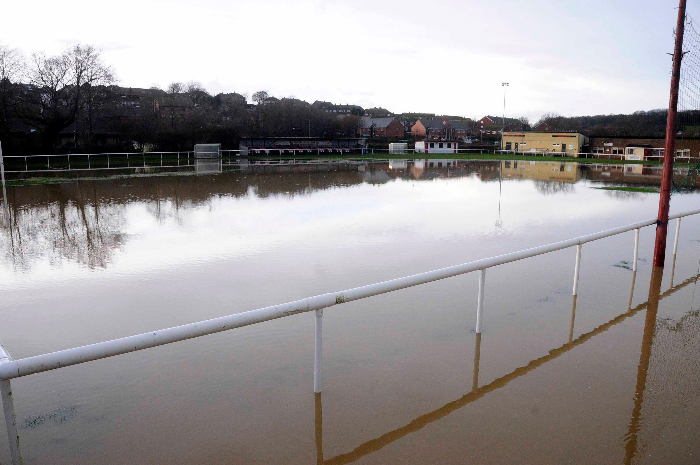 The waterlogged pitch at Bridport Football Club