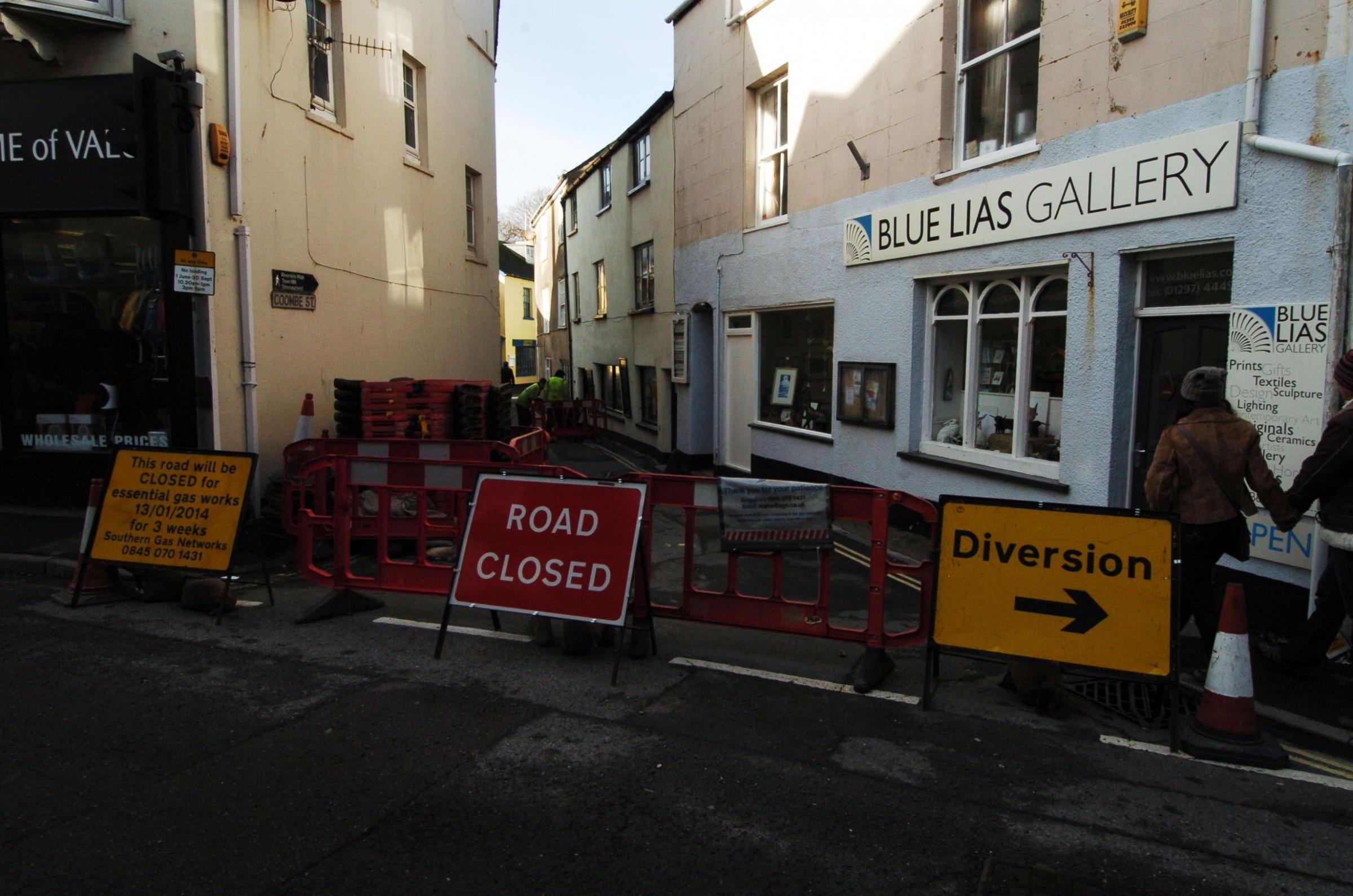 Lyme Regis firms facing closure during gas repair works