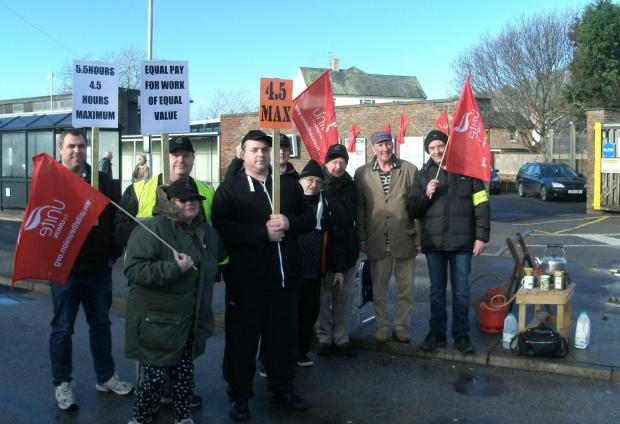 The picket line at Bridport bus station