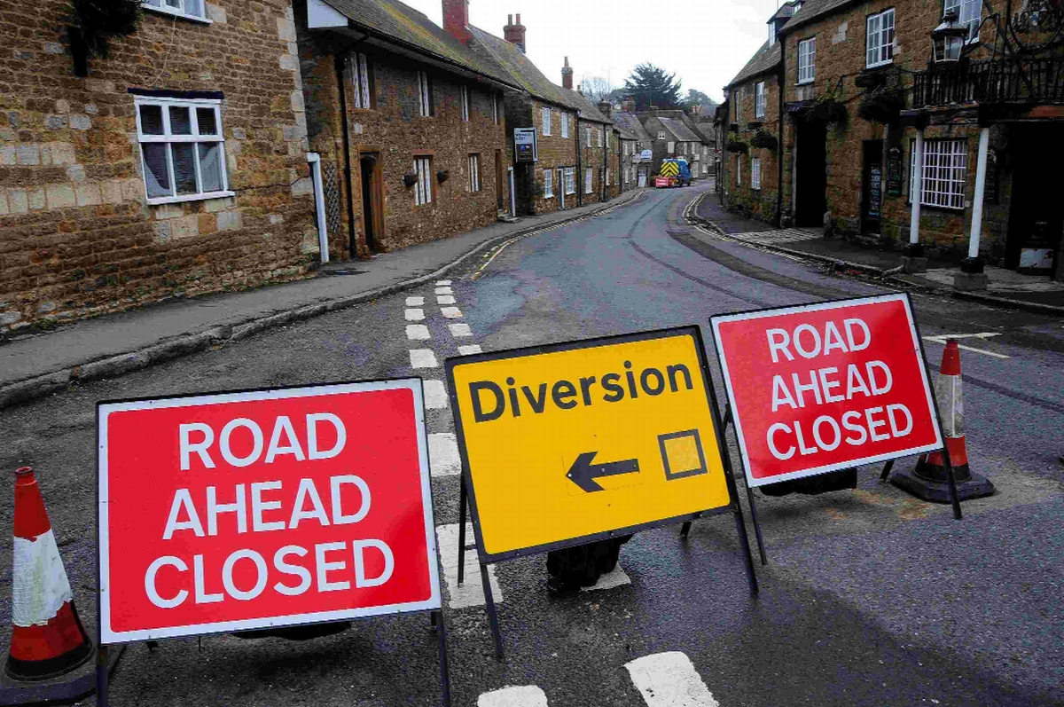 The B3157 coast road is closed at Abbotsbury until the end of March