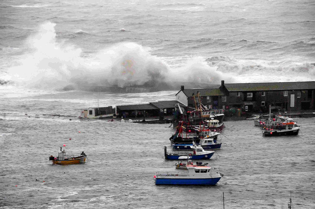 DELUGE: The Cobb battered by huge waves