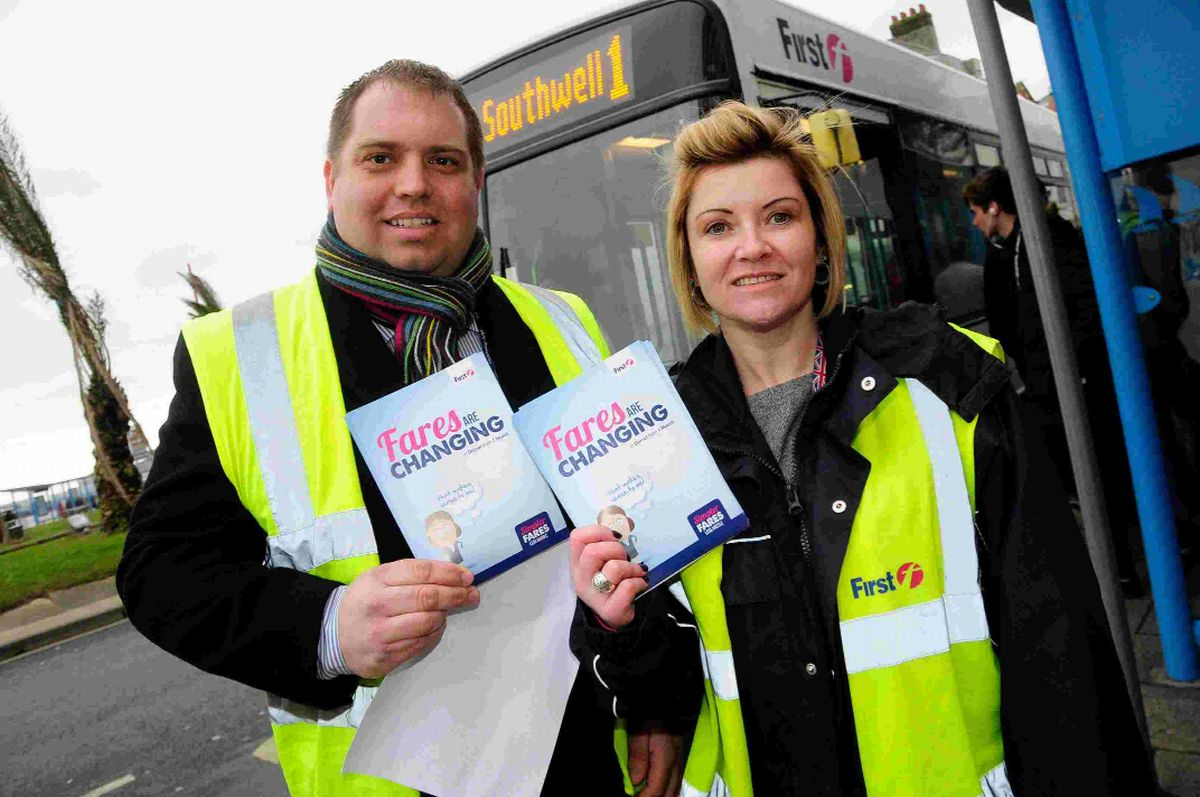 FARE ZONES: Simon Newport and Sarah Vaughan from First Bus answer questions from the public over the changes Picture: GRAHAM