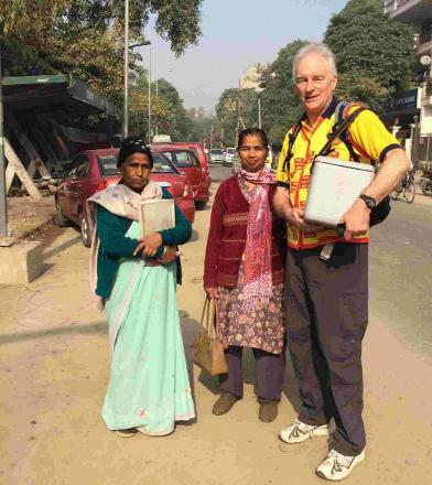 Clive Bath in India helping to immunise children from polio