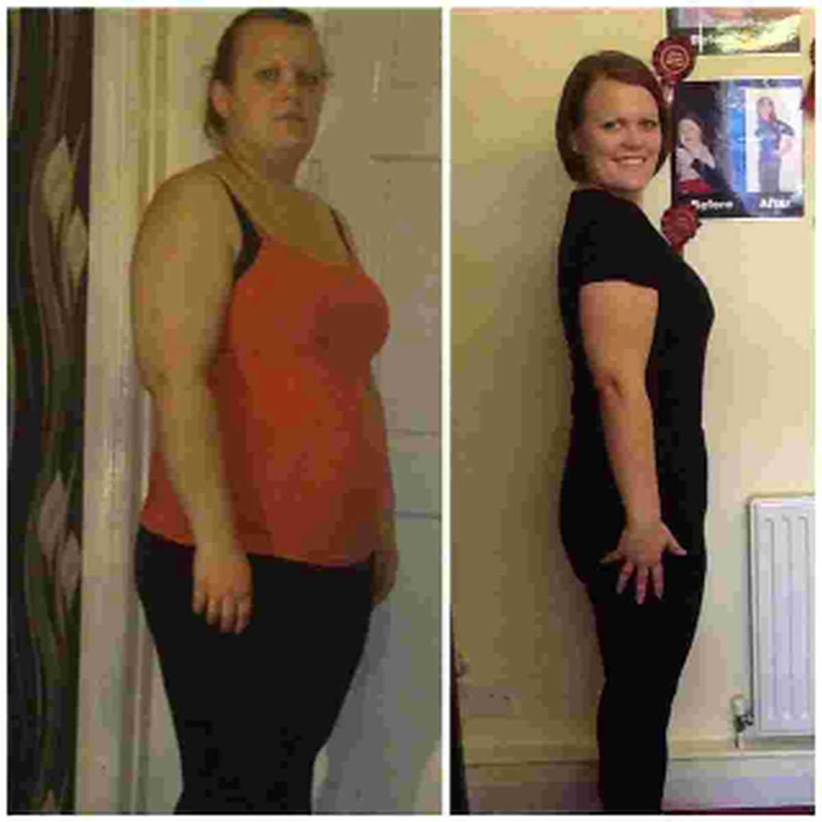 BEFORE AND AFTER: Jodie Martinez and right, five stone lighter