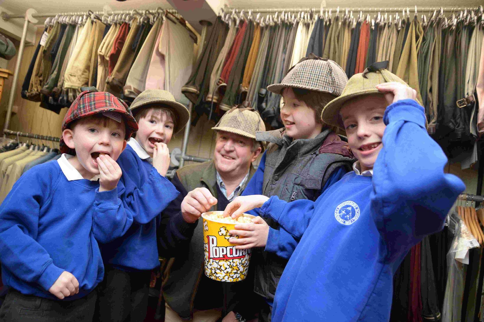 HATS AWAY: From left, Robbie Irving-Bell, Felix Ford, Roger Snook, Blake Ford and Charlie Irving-Bell
