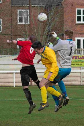 LAST-GASP EFFORT: Keeper Sam Filkins goes forward for a corner in the dying seconds against Winterbourne last Saturday