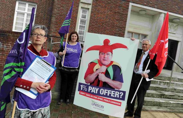A Unison protest about a proposed one per cent national pay offer to the public sector. From left are Stella Crew, Emily Metcalfe and Stewart Pearson