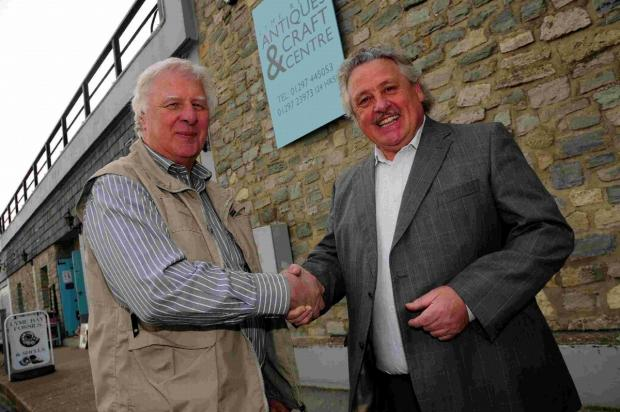 HAVE A GO HERO: Bob Bennett, right, with Lyme Regis Antiques and Craft Centre proprietor Colin Willis