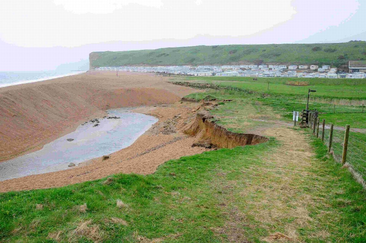 Erosion of the coast path at Freshwater