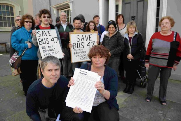 Protesters with their petition to save the number 47 bus. In front is Andy Pennington with Ros Kayes