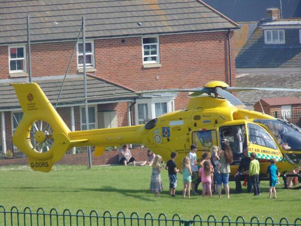 The Dorset and Somerset Air Ambulance at the scene in Lyme Regis