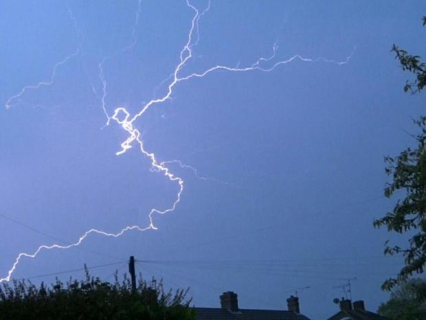 Lightning in Bridport by Tony Logan