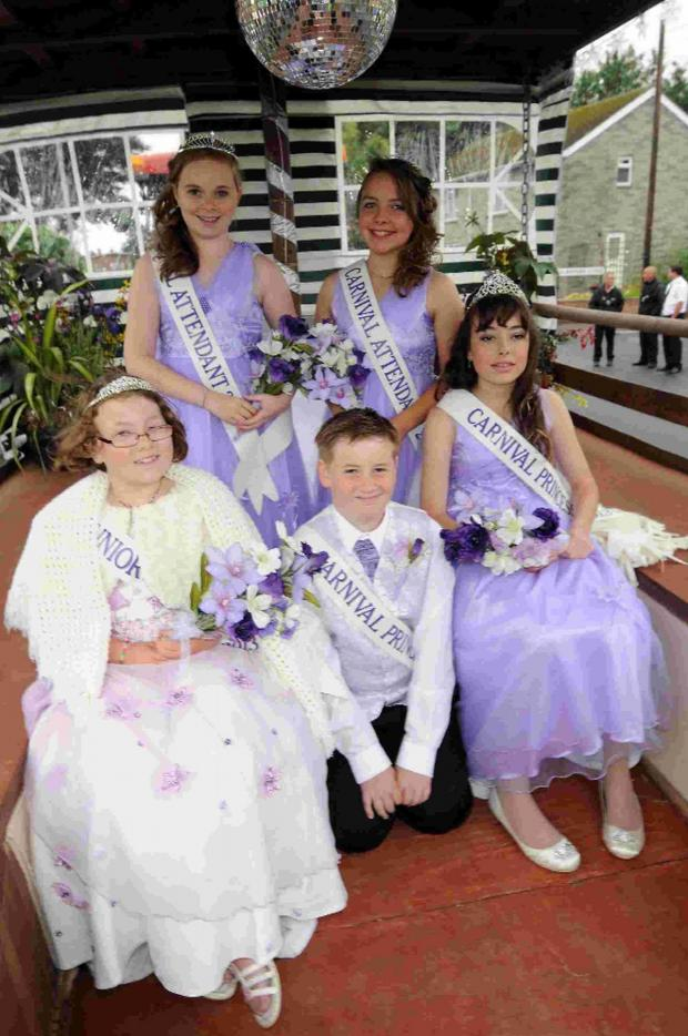 Bridport and Lyme Regis News: LAST YEAR'S ROYALTY: left to right, Jenniver Sweet, Sarah Williams, Aiden Cooper, Daniella Scadding and Chloe-Amber Cash