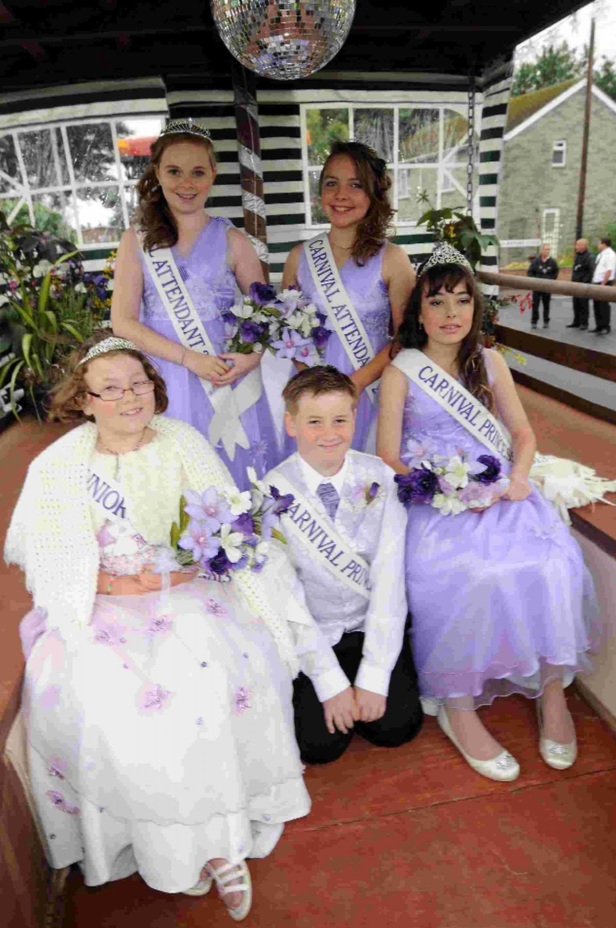 LAST YEAR'S ROYALTY: left to right, Jenniver Sweet, Sarah Williams, Aiden Cooper, Daniella Scadding and Chloe-Amber Cash