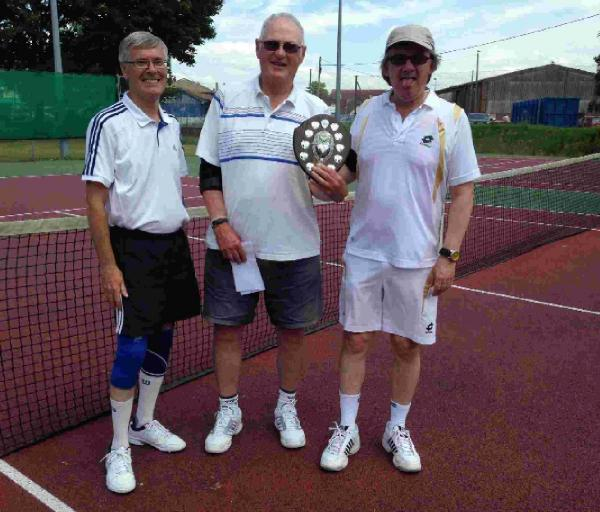 BEST VETS: Mike Sutton, centre, organiser of the Veterans' Tournament at Bridport Tennis Club, with winners Geoff Smith, above left, and Mark Riley, right
