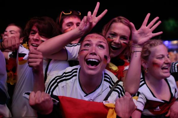 Elation for German fans last night. Pic: PA