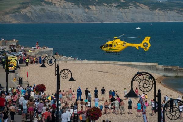 The scene at Lyme Regis beach