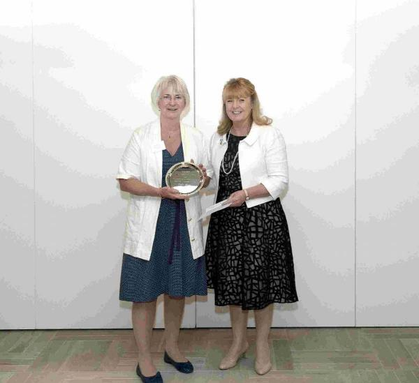 CONGRATULATIONS: Dilys Hunt receives the Tony Denison Award from CRASH chief executive Francesca Roberts