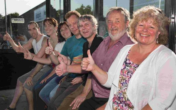 TICKET TO RIDE: Cllr Ros Kayes and commuters celebrating the reinstated Bridport to Yeovil bus route