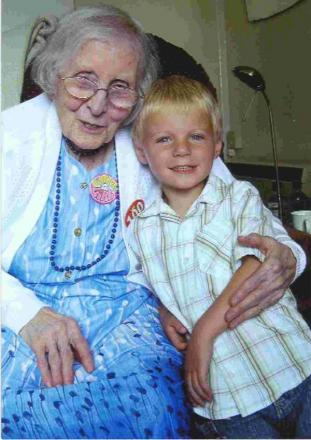 Eugenie Underwood on her 100th birthday in 2007 with great-grandson Danny Cowburn