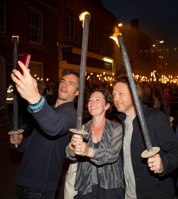 Olivia Colman, James D'Arcy and Shaun Dooley star in Bridport torchlight procession - Picture by Neil Barnes