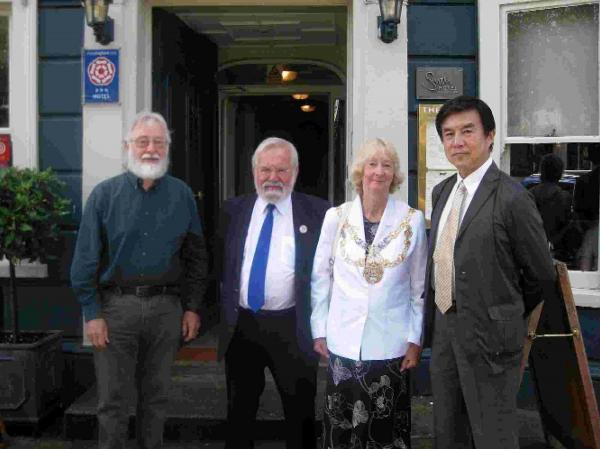 STRENGTH TO STRENGTH: Left to right, Arthur Woodgate, Martin Ray, mayor of Bridport Maggie Ray and Shiro Yonekura of the Koyamadai Educational Foundation
