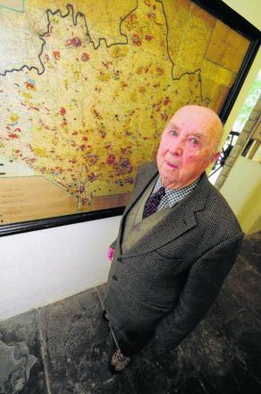 Bomb detective: John Comben with the map he created