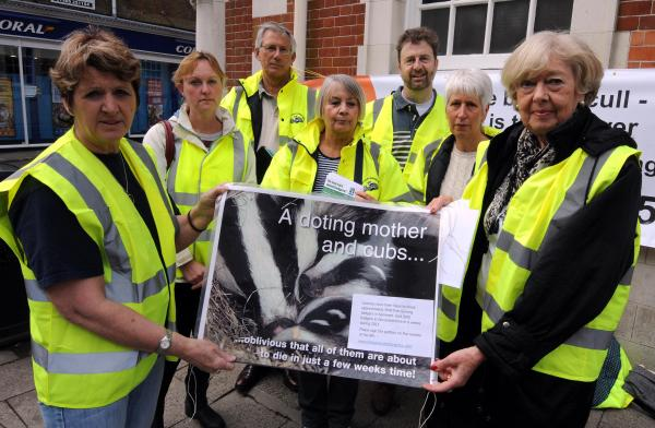 Elizabeth James, right, and the Dorset Mammal Group protesting about badger culling in Dorchester