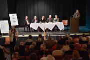 The panel of West Dorset parliamentary candidates and MP Oliver Letwin listen to a member of the public in Bridport