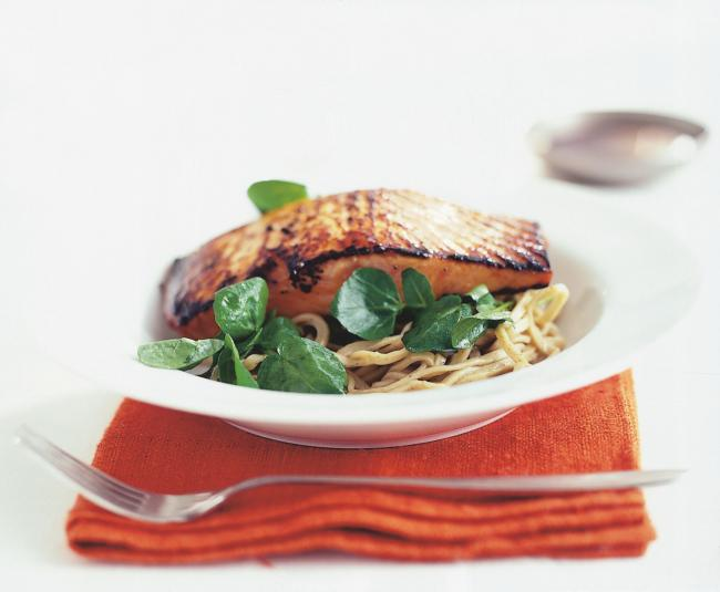 RECIPE: Crisped Salmon with Watercress and Soba Noodles