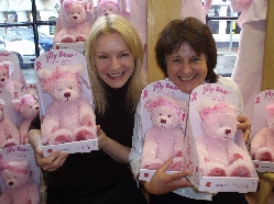 Lyme artist Rikey Austin, left, and Pat Blake, manager of the Cancer Reasrch UK shop in Bridport where the Jilly Bears have been flying off the shelves