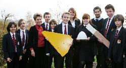 Woodroffe School students and environmental science teachers with the components of their new wind turbine as they go for green flag status