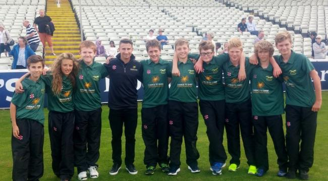 HOWZAT: Sir John Colfox Under-13 teamat Edgbaston  for the Chance to Shine finals with James Taylor. Fromt left to right: Joe Maston, Jacob Jobson, Will Moss, James Taylor, Ollie Bareham, Reuben Joliffe, Ethan Robertson, Harry Burwood, Jacob Maltby, Euan