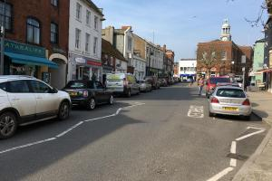 Queuing traffic on South Street