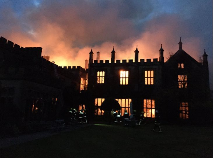 Fire at Parnham House April 2017 Picture: Craig Baker/Dorset & Wiltshire Fire and Rescue Service.