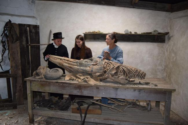 ON SCREEN: Mary Anning (Katy Hamilton) with Miss Philpot (Jenny Agutter) and Rev Buckland (Paul Storrier)