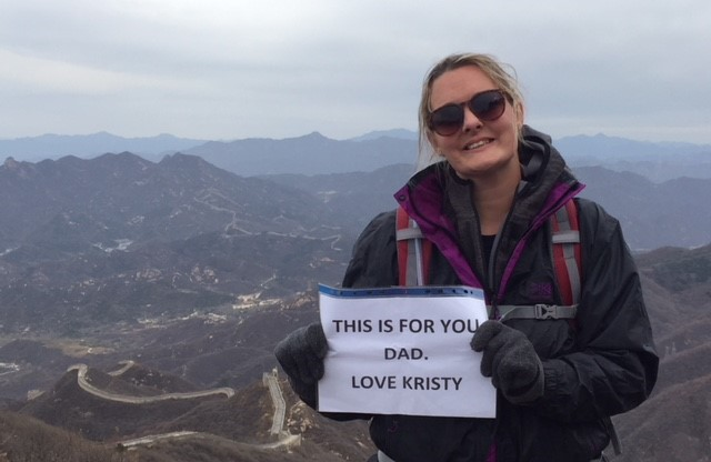 TREK: Kristy took on the Great Wall of China to raise vital funds for the Alzheimer's Society